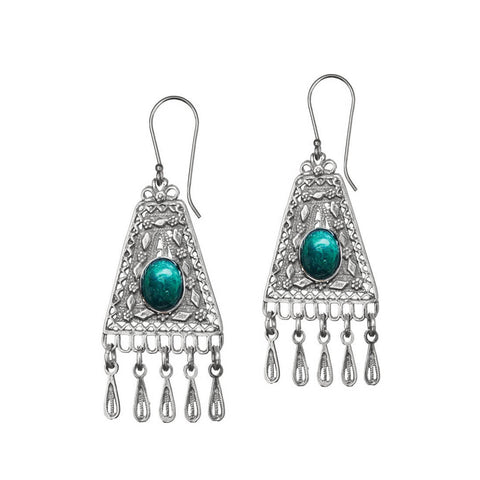 Israeli Yemenite Tiny Flowers Eilat Stone Fringe Earrings
