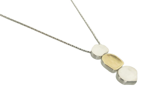 Israeli Triple Organic Shapes Necklace By Ithil Side View