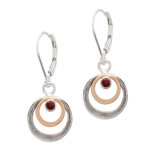 J & I Garnet Double Hoops Earrings