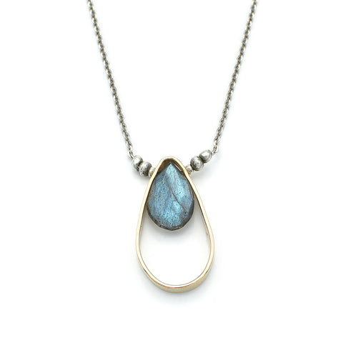 J & I Luscious Labradorite In 14kt GF Teardrop Pendant Necklace