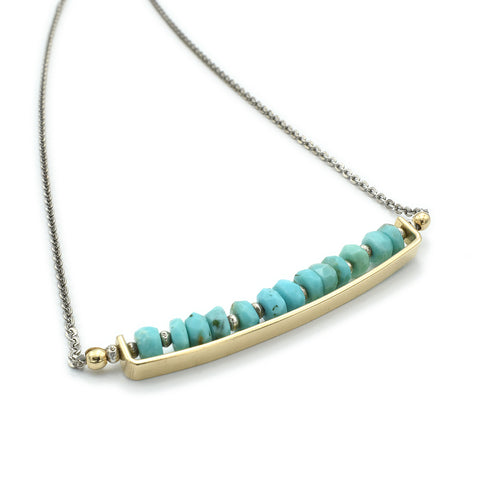 J And I Turquoise Bar Necklace Another View