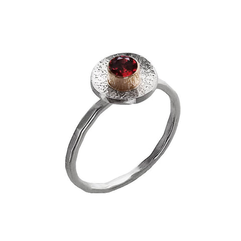 J & I Bezel Set Garnet Ring