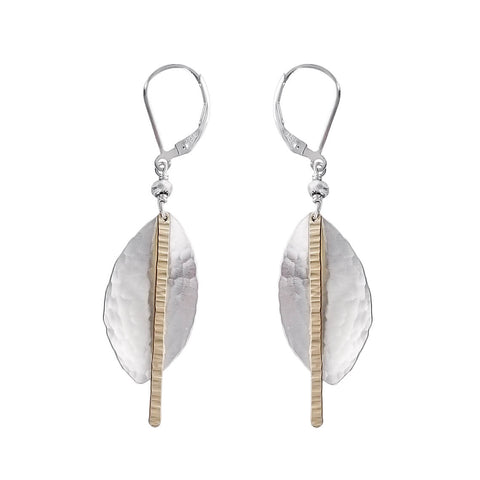 J & I Bright And Textured Leaves And Sticks Earrings