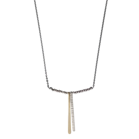 J & I Etched And Tapering Silver Gold Bar Necklace