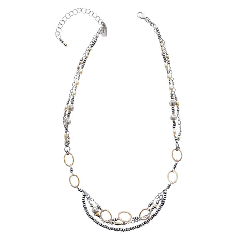 J & I Fabulous Mixed Metal Multi Strand Necklace
