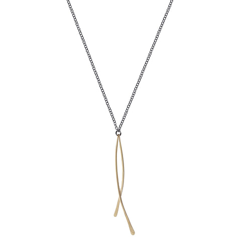J & I Floating Crossed Golden Branches Necklace