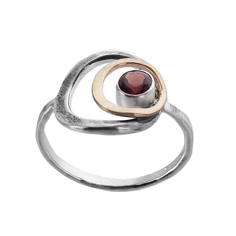 J & I Garnet Double Hoop Ring