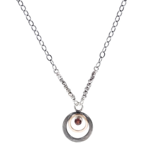J & I Garnet Double Hoops Necklace