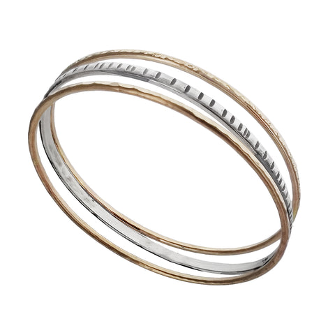 J & I Gold Silver Etched Triple Bangle Bracelet