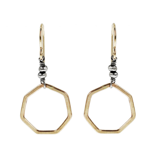 J & I Golden Honeycomb Hoop Earrings