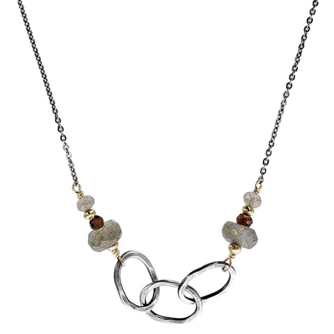 J & I Labradorite Garnet Linked Hoop Necklace