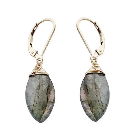 J & I Labradorite Marquise Earrings