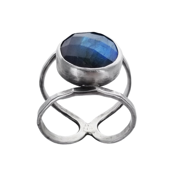J & I Labradorite Wide Split Band Ring