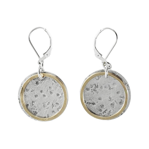 J & I Large Textured Disc Earrings