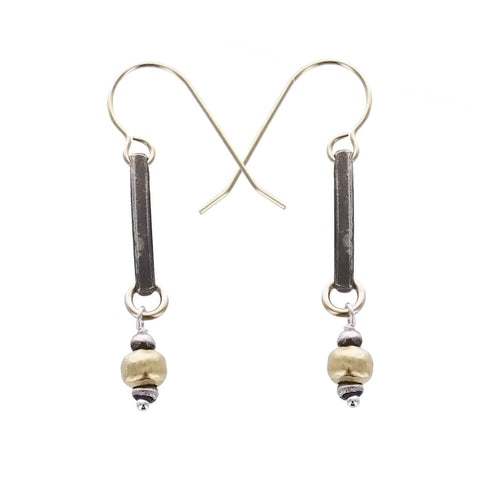 J & I Oxidized Sterling Bar And Bead Drop Earrings