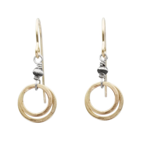 J & I Petite Hammered  Double Hoops Earrings