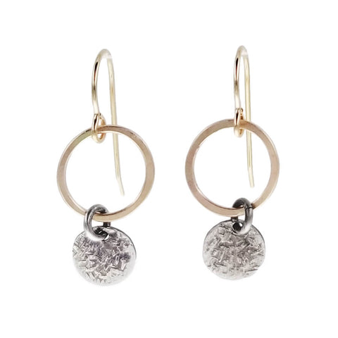 J & I Petite Textured Disc Drop Hoop Earrings