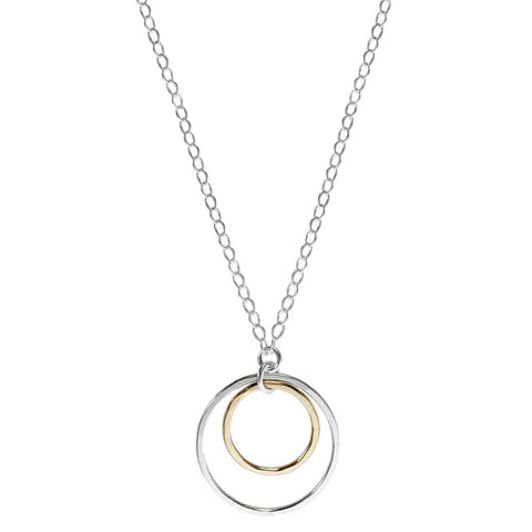 J & I Silver Gold Hoop Simplicity Necklace