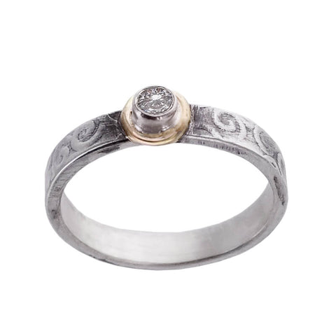 J & I Slender Swirling Etched Sterling Gold CZ Ring