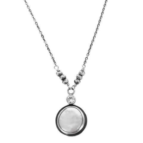 J&I Bezel Set Coin Pearl with CZ Necklace