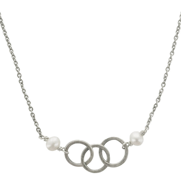 J & I Linked Triple Sterling and Pearl Hoop Necklace