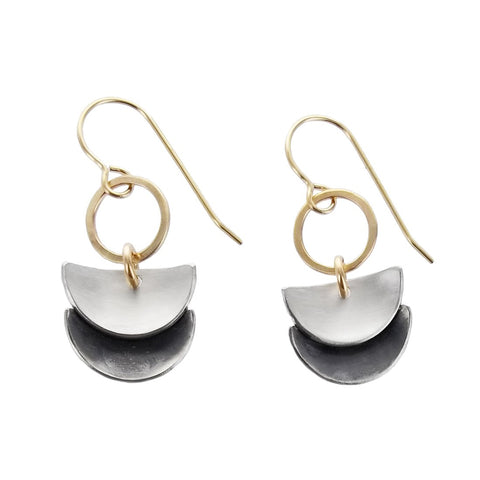 J and I Double Crescent Drop Earrings
