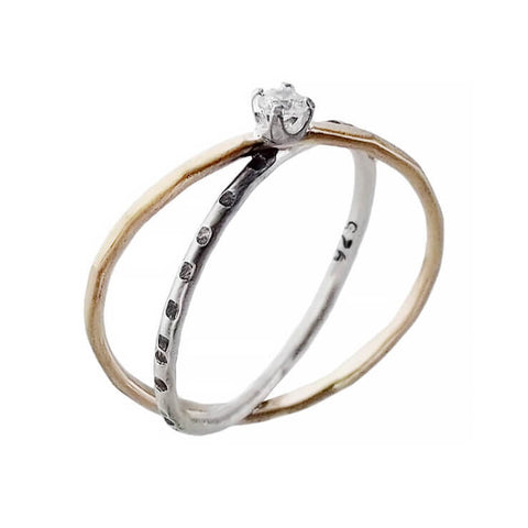 J and I Gold Silver Crisscross CZ Bands Ring