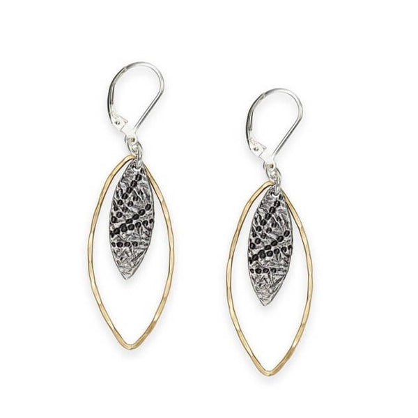 J & I Gold and Silver Textured Marquise Shape Earrings