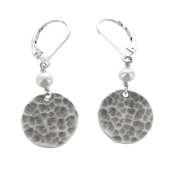 J and I Hammered Disc Pearl Drop Earrings