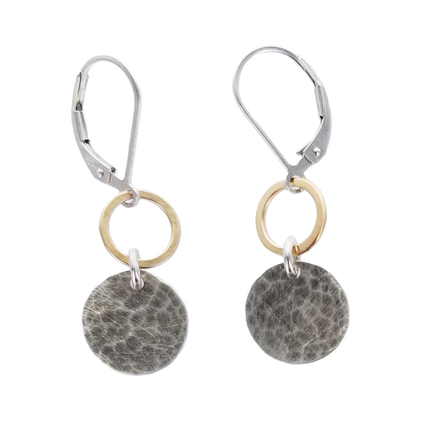 J & I Hoop Hammered Disc Drop Earrings