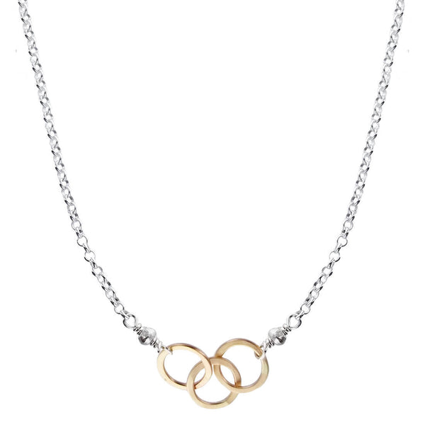 J And I Linked Triple Gold Hoop Necklace