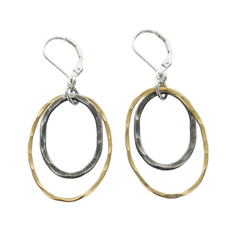 J & I Hammered Double Oval Hoop Earrings Another View