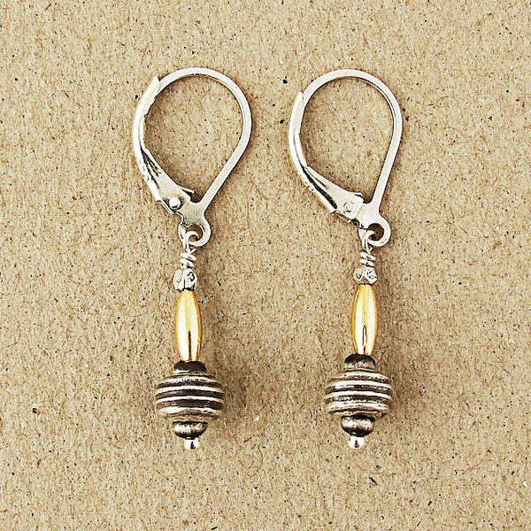 J & I Sterling Etched Gold Bead Earrings