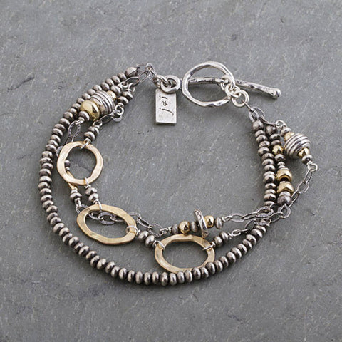 J & I Mixed Metal Multi Strand Bracelet
