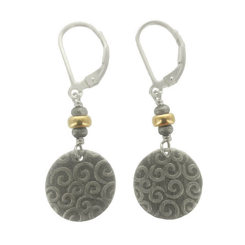 J & I Swirling Spiral Disc Earrings