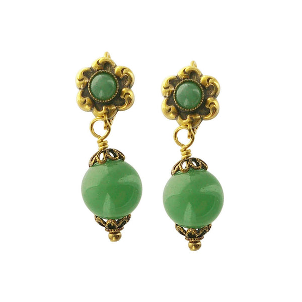 Jan Michaels Green Aventurine Drop Earrings
