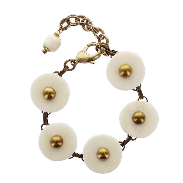 Jan Michaels White Bone Circles Bracelet