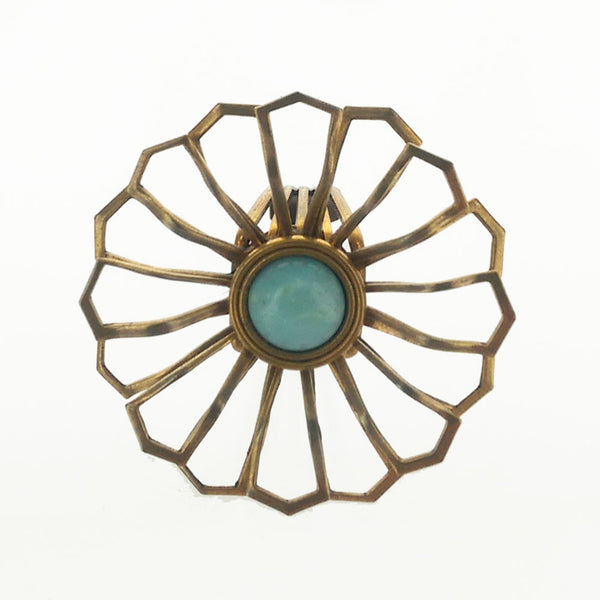 Jan Michaels Blue Amazonite Wire Flower Ring