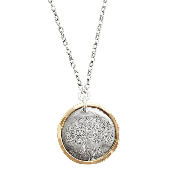 Gold Encircled Sterling Tree Of Life Necklace