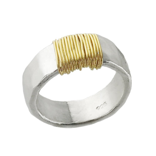 J&I Hammered Sterling Gold Filled Wrap Ring