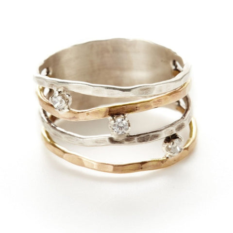 J&I Hammered Sterling Gold Bands Ring With CZ Side View
