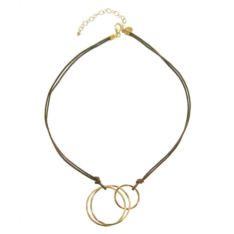 J&I Interlocking Circles Brown Cord Necklace