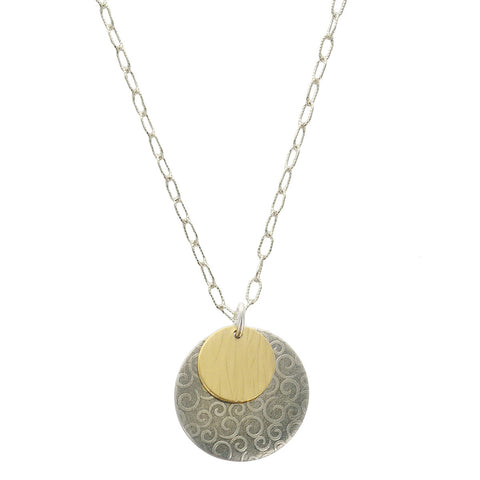 J & I Swirling Spiral And Gold Disc Necklace