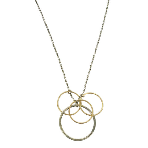 J&I Circle Cluster Long Chain Necklace