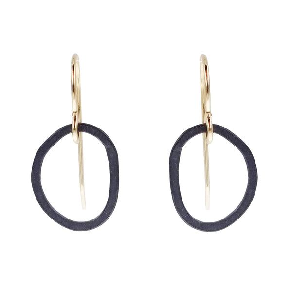 J and I Mixed Metal Organic Hoop Earring