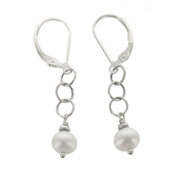 J And I Pearl Chain Earrings
