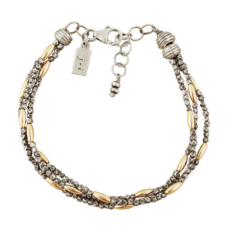 J & I Triple Strand Mixed Metal Bead Bracelet