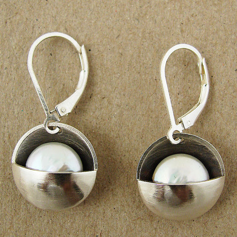J & I Sterling Cupped White Pearl Earrings