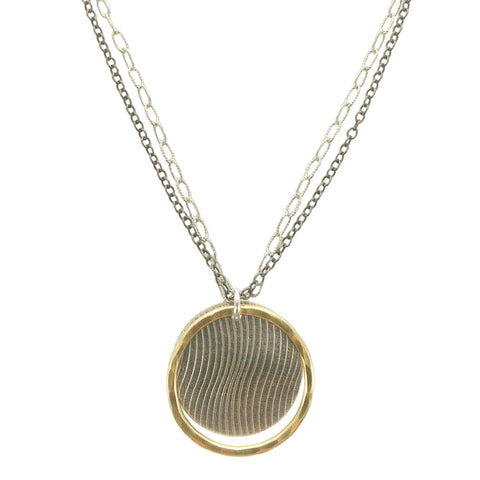 Gold Encircled Sterling Disc Double Chain Necklace