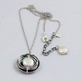 J & I Wire Wrapped White Coin Pearl Necklace